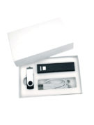 Подарочный комплект флешка внешний аккумулятор флеш империя кабель 3 в 1 оптом заказать с логотипом компании черный (2)