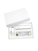 Подарочный комплект флешка внешний аккумулятор флеш империя кабель 3 в 1 оптом заказать с логотипом компании серебро (2)