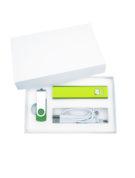 Подарочный комплект флешка внешний аккумулятор флеш империя кабель 3 в 1 оптом заказать с логотипом компании зеленый (2)