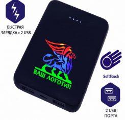 pb14-2 внешний аккумулятор soft toch с подсветкой логотипа заказать оптом1