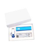 Подарочный комплект флешка внешний аккумулятор флеш империя кабель 3 в 1 оптом заказать с логотипом компании синий (2)
