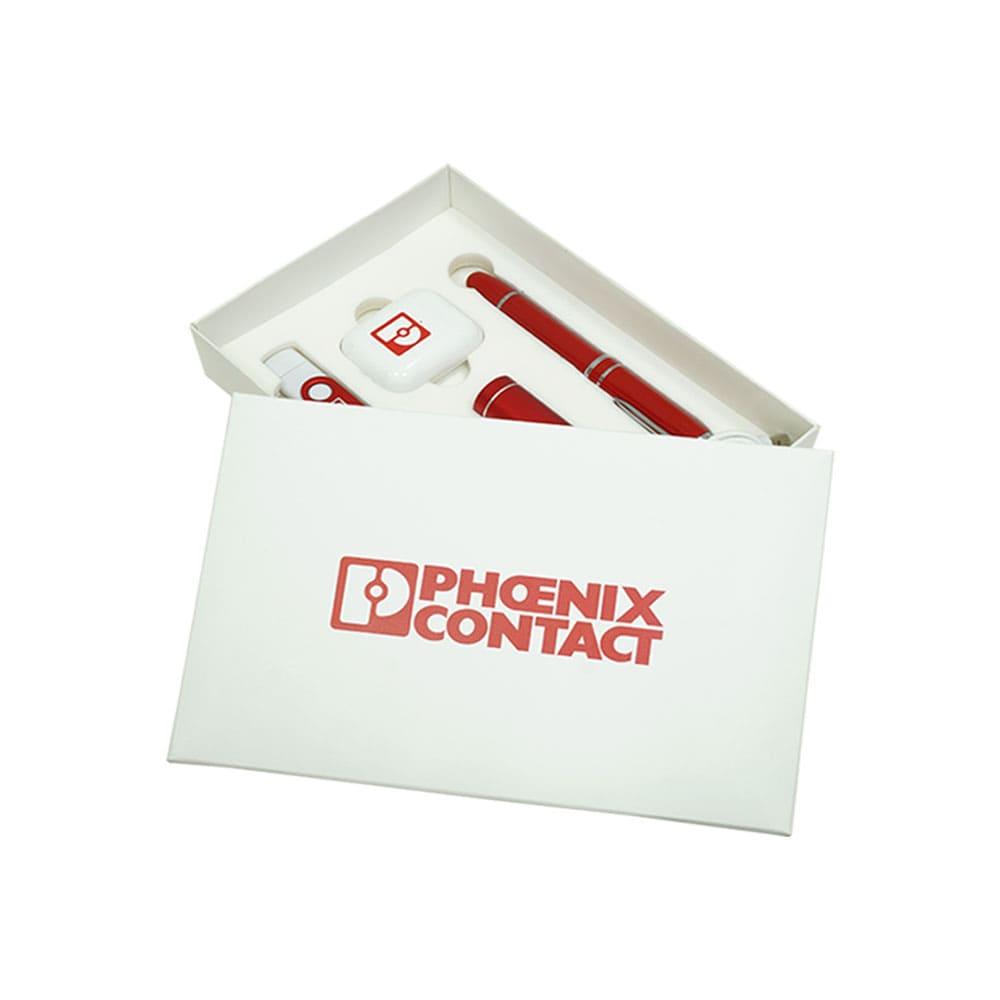 Подарочный набор с логотипом для компании Phoenix Contact внешний аккумулятор, беспроводные наушники, флешка-ручка, otg-флешка, кабель 3 в 1, Флеш империя флешки оптом купить логотип под заказ Фоникс Контакт