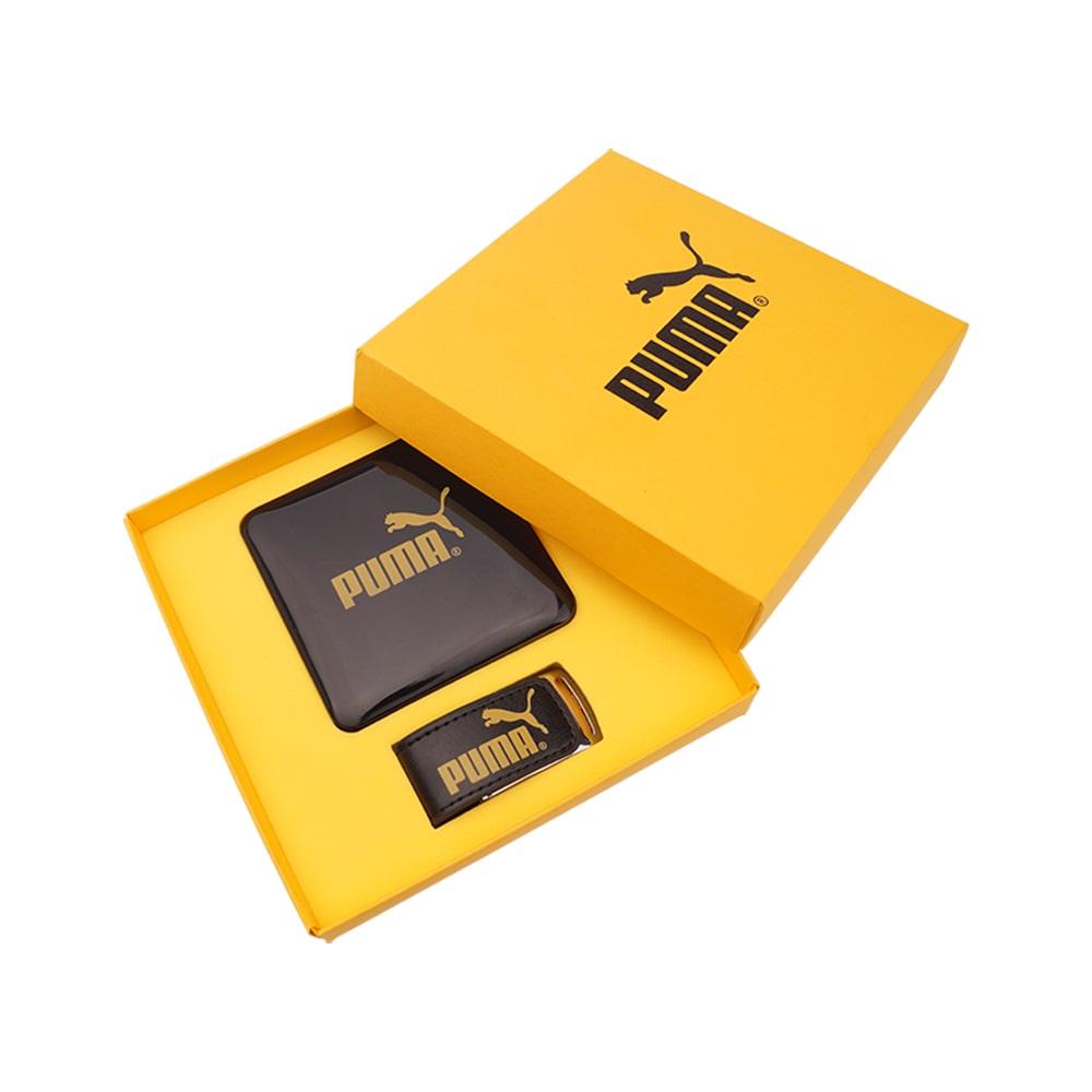 Подарочный набор с логотипом rкомпании PUMA внешний аккумулятор, флешкаиз эко-кожи Флеш империя флешки оптом купить логотип под заказ флешка внешний аккумулятор Пума флеш Империя