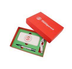 Подарочный набор с логотипом компании Пятерочка Подарочный набор с логотипом компании внешний аккумулятор и ручка Пятерочка купить оптом