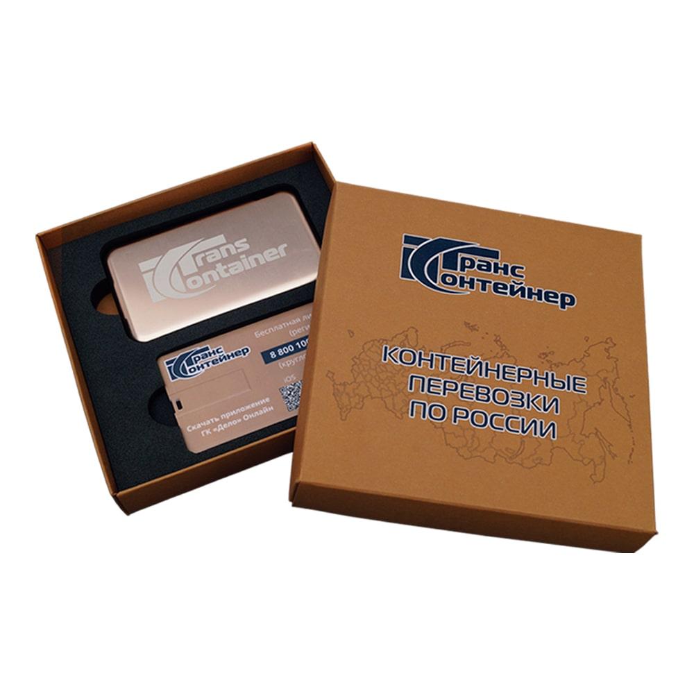 Подарочный набор с логотипом rкомпании Транс контейнер внешний аккумулятор, флешка-визитка Флеш империя флешки оптом купить логотип под заказ Транс Контейнер внешний аккумулятор флешка-бейджик флеш империя