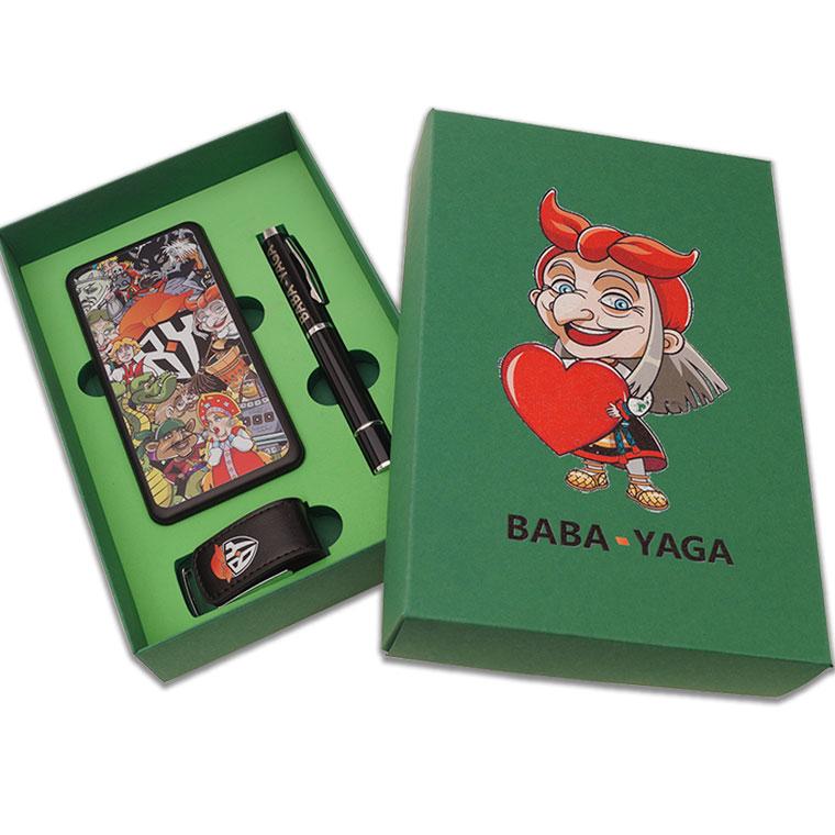 Подарочный набор с логотипом компании BABA YAGA набор флешка флешка-ручка внешний аккумулятор уф-печать