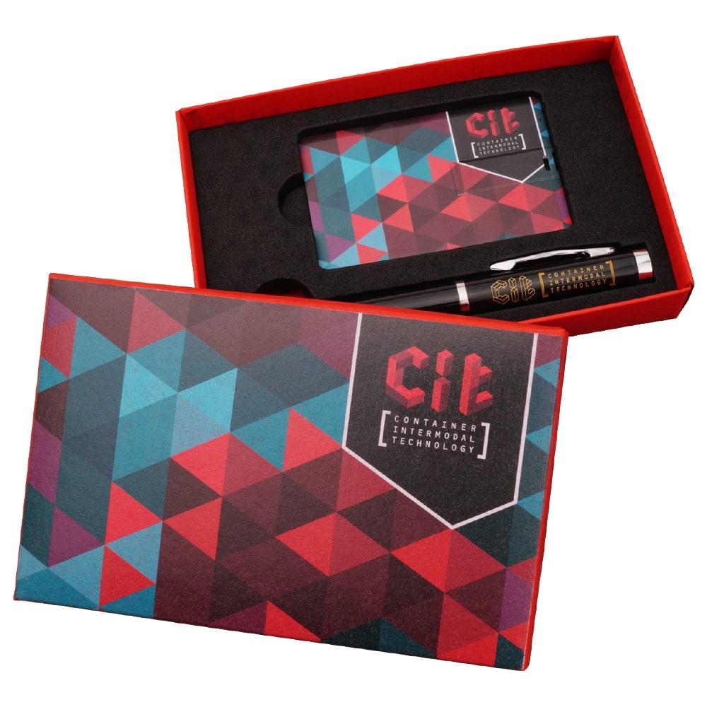 Подарочный-комплект-флешка-ручка-флешка-визитка флеш империя флешка-визитка набор подарок флешка-ручка Cit